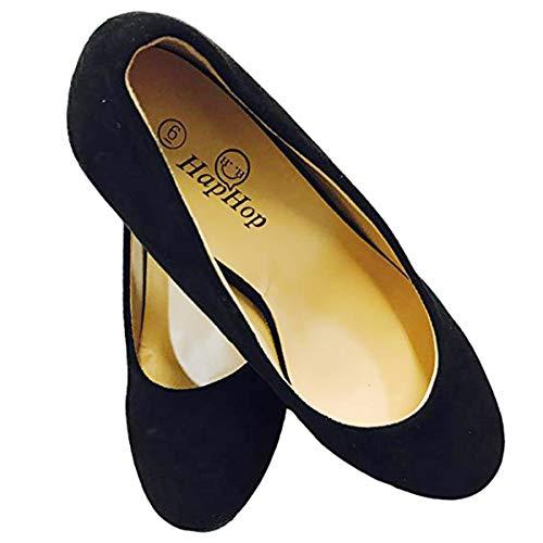 HapHop Women's Premium Pump Wedge Bridal Wedding Party Heel Shoes, Black, 9 M US