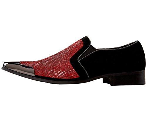 Bolano Hombres Lentejuelas Llano Dedo Del Pie Oxford Vestido Zapato Y Diamantes De Imitación Embellecido Gamuza Gamuza Punta Metal Zapato De Fumar Negro / Rojo