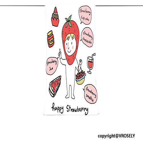 VROSELV Custom Towel Soft and Comfortable Beach Towel-cute character of strawberry holding a basket full of ripe strawberries str Design Hand Towel Bath Towels For Home Outdoor Travel Use 11.7