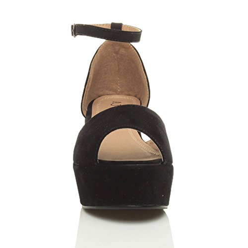 Heel Black Flatform Size Mid Shoes Sandals Suede Women Ajvani RqO6vv