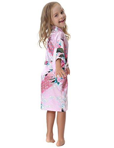 noche Vestido House Flowers Peacock Rosa grande de Albornoz o Camisa o Boy Para Satinado ni Peacock Aibrou Kimono Long de bordada Tama a Ni qPwxZOOA