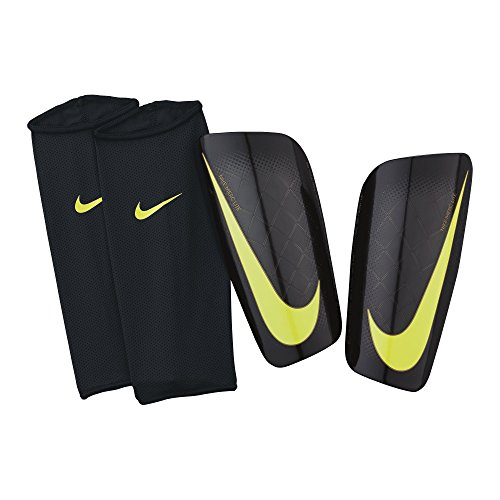 NIKE Mercurial Lite Soccer Shin Guards (Black/Black/Volt, X-Large)