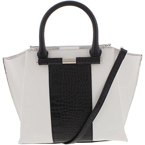 5cc047effb Nine West Womens Divide And Conquer Faux Leather Colorblock Satchel Handbag