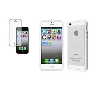 Bumper Carcasa TPU Gel Botones Metalicos Blanco+Protector Para Apple iPhone 5