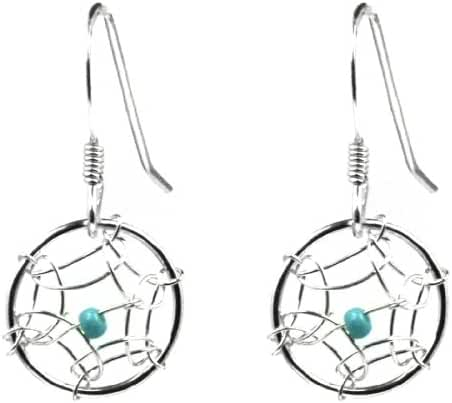 Dream Catcher Sterling Silver Turquoise Imitation Very Small Round Earrings