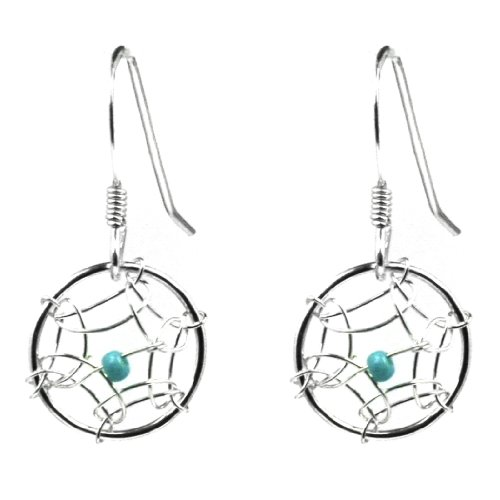 Dream Catcher Sterling Silver Turquoise Imitation Very Small Round Earrings ()