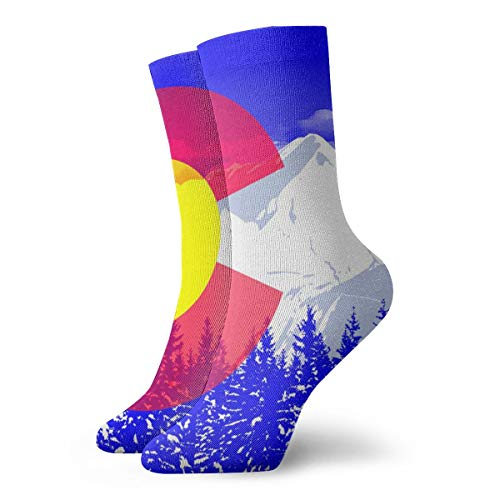 Unisex Flag of Colorado Athletic Stockings Long Socks Sports Outdoor for Men Women (Buffaloes Lamp Colorado)