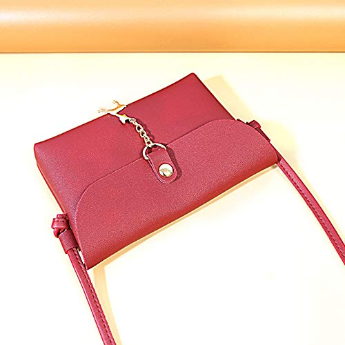 Makeup Daliuing Handbag Bag Leather Bag Color Black Fashion Pouch Headset Single Crossbody Black Shoulder Small Durable Solid for Phone ZrRqZ