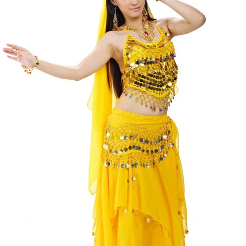 BellyLady Halloween Belly Dance Costume, Halter Bra Top, Hip Scarf and (Yellow Belly Dancer Costume)