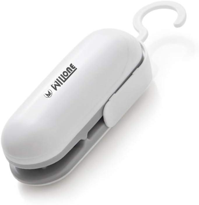 UpdateClassic 2 in 1 Portable Mini Heat Bag Sealer, Handheld Sealing Household Machine, Sealing Machine Hand Pressure Heat Sealing Machine for Airtight Food Storage Saver (White&Grey, 1pc)