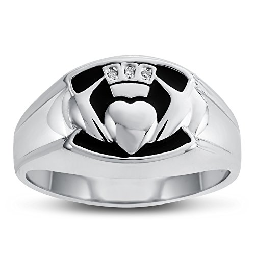 Men's Claddagh Ring in Sterling Silver - Size 11