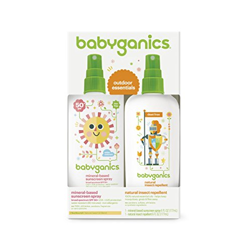 Babyganics Mineral-Based Baby Sunscreen Spray SPF 50, 6oz Spray Bottle + Natural Insect Repellent 6oz Spray Bottle Combo Pack - Spray Combo