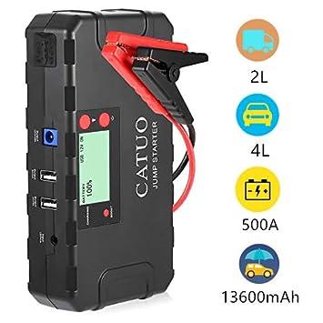 Arrancador de Coche 13600mah 500A Cargador de 12V Gasolina 4L Diesel 2L 8 Protección Inteligente Linterna SOS Adaptador DC USB para ...