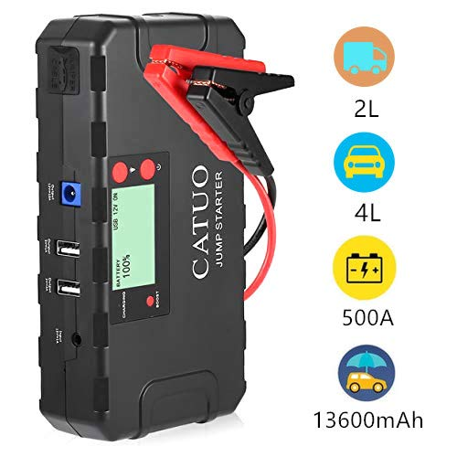 Car Jump Starter 12V Auto Battery Charger 500A 13600mAh Emergency Battery Booster Pack with LCD Screen Dual USB Boost Mode SOS Mode 4L Gas or 2L Diesel for Phone, Laptop, Motorcycle Ele