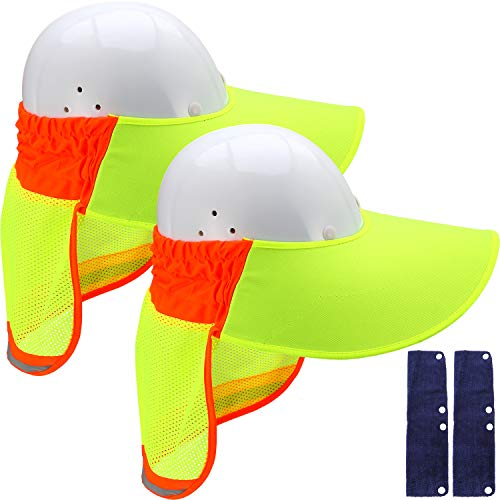 Skylety 4 Pieces Hard Hat Sun Neck Shield With High Visibility Mesh and Sunshade Sweatband for Construction Helmets UV Protection (Style 2)]()