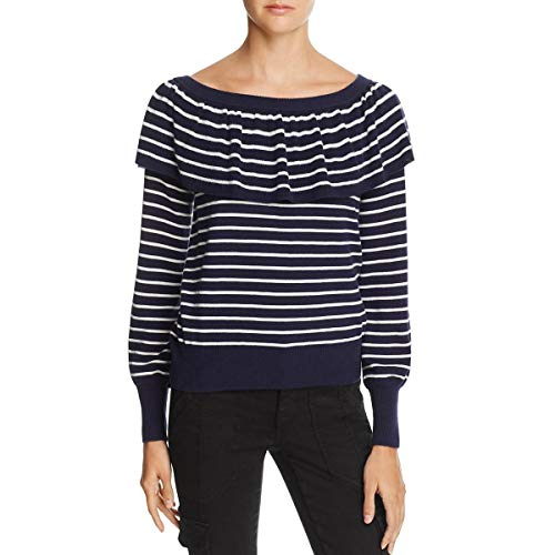Joie Womens Drape Off The Shoulder Pullover Sweater Navy XXS (Joie Striped Sweater)