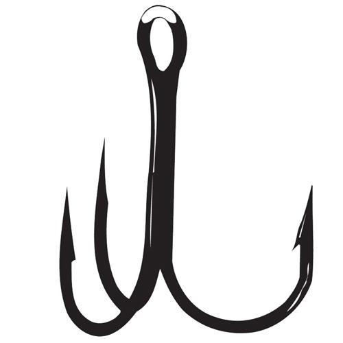 Treble Bend Gamakatsu Round Hook - Gamakatsu Treble 23 Round Bend Hook, NS Black, Size 2/0