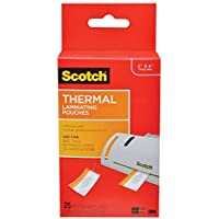 Scotch Thermal Laminating Pouches, 2.48 in x 4.21 in, Luggage Tag Size with Loop, 25 Pouches (TP5853-25) (2 packs)