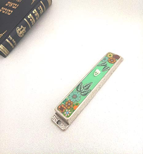 Mezuzah With Scroll, Floral Mezuzah case Gift, Jewish Housewarming Handmade Designer Art, Blessing Gifts Made In Israel (Silver Plated Classic Scroll)