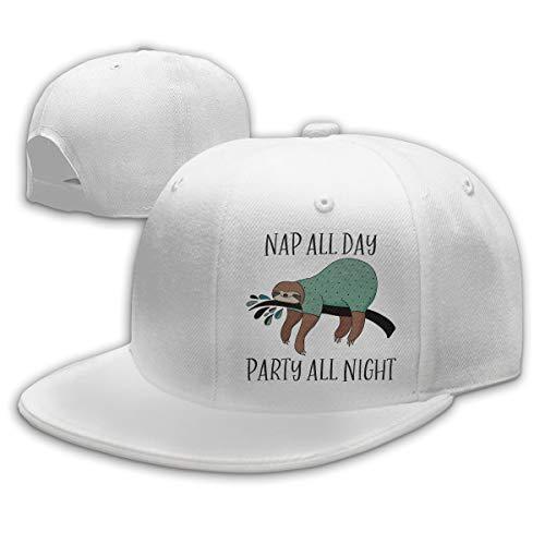 Sakanpo Nap All Day Party All Night Flat Visor Baseball Cap, Fashion Snapback Hat White