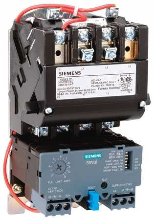 Siemens 14DUE32AF Heavy Duty Motor Starter, Solid State Overload, Auto/Manual Reset, Open Type, Standard Width Enclosure, 3 Phase, 3 Pole, 1 NEMA Size, 10-40A Amp Range, A1 Frame Size, 120 Separate Control 60Hz Coil Voltage