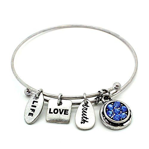 (KIS-Jewelry Symbology 'September' Birthstone Bangle Bracelet, Silver Plated - Expandable Wire Charm Bracelet with Sparkling Sapphire Color Crystals - Perfect Jewelry for Fashion)