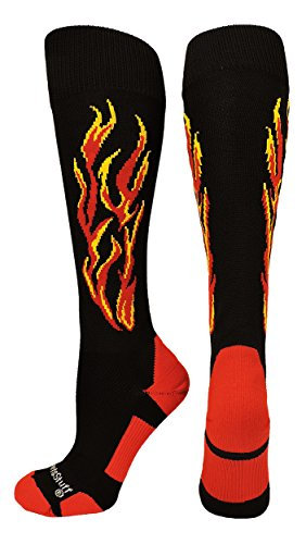 MadSportsStuff Flame Soccer Style Socks (Black/Red/Gold, Small)