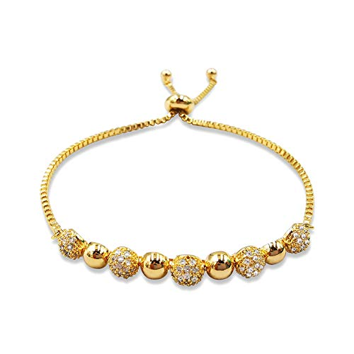 EXGOX Bracelet Round Shape 18K Gold Plated Adjustable Snake Chain with Shinning Ball Bracelet Jewelry Sets for Woman and - Shape Cubic Round Zirconia