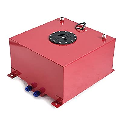 SUNROAD 10 Gallon 38L Universal Fuel Cell Gas Tank Can Aluminum Polished Racing Street Drift Strip Fuel Cell Tank with Level Sender Red: Automotive
