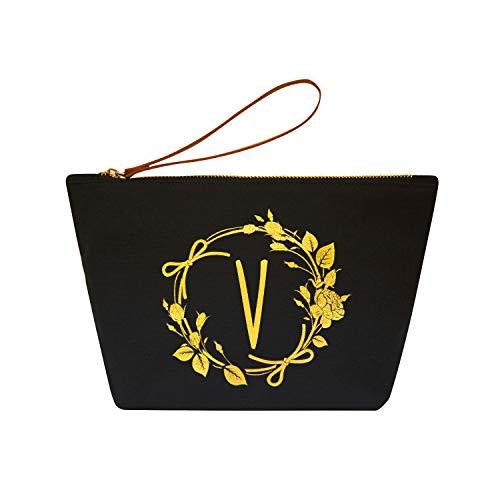 ElegantPark V Initial Monogram Personalized Travel Makeup Cosmetic Bag Wristlet Pouch Gifts Black with Zipper Canvas (Monogram Clutch Wristlet)