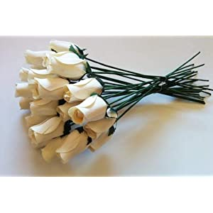 24 Beautiful Realistic Ivory White Wooden Roses by Aariel's Attic 114