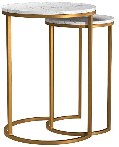Rivet Circular Modern Marble and Gold Nesting Side Table, Set of 2, Marble/Gold by Rivet (Image #7)