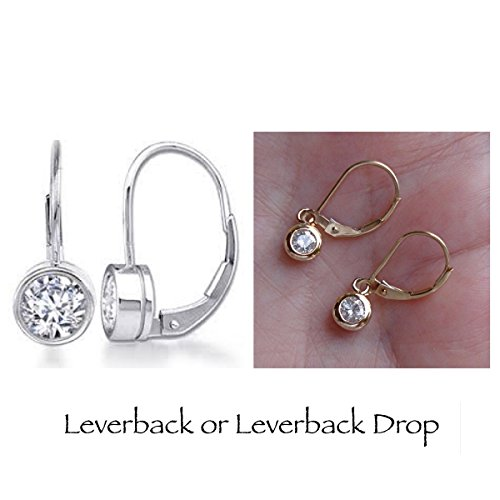 1/2 Carat Bezel Diamond Leverback Drop Earrings (not enhanced) 14K White, Rose, or Yellow Gold ()