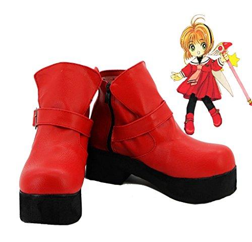 Sakura Kinomoto Scarpe Cosplay Stivali Su Misura Rosso 4