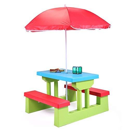 LAZYMOON Kids Playful Picnic Table w/Umbrella Plastic Folding Outdoor Children Set Play Bench ()