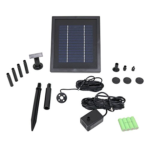 Sunnydaze Outdoor Solar Pump and Panel Fountain Kit With Battery Pack and LED Light, 65 GPH, 47-Inch Lift by Sunnydaze Decor