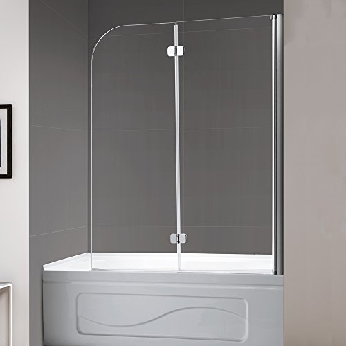 Mellewell Fold 36 in. Width, Frameless Hinged Tub Shower Door Swing Bathtub Screen, 1/4