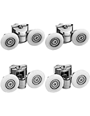 LESOLEIL Douchedeur Rollers - Douchedeur Runners Fixing Pulleys Top Bottom Bathroom Replacement Parts Nylon Zink Alloy 4pcs 25mm