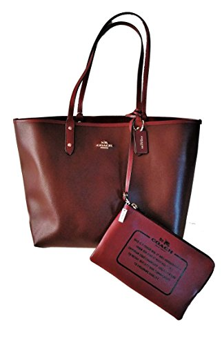 Coach Solid PVC Reversible City Signature Tote Handbag Oxblood, Burgundy by Coach (Image #1)
