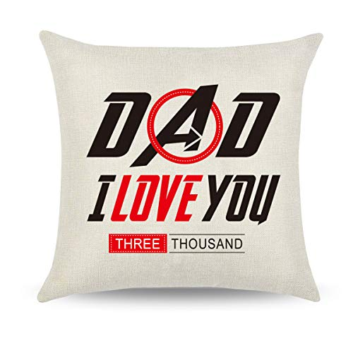 CARRIE HOME I Love You 3000 Dad Gifts from Daughter Father's Day Throw Pillow Cover 18x18 Best Funny Gift for Dad, 1 (Best Dad Pillows)