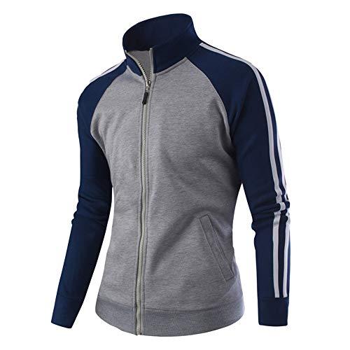 Realdo Mens Baseball Jacket, Casual Sport Zipper Splice Color Warm Coat Top Tracksuit Dark Grey