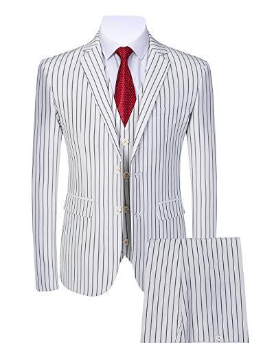 (Mens 3 Piece Pinstripe Suit Slim Fit Casual Dress Suits Blazer + Vest + Pants US Size 32 (Asian Size L) White)