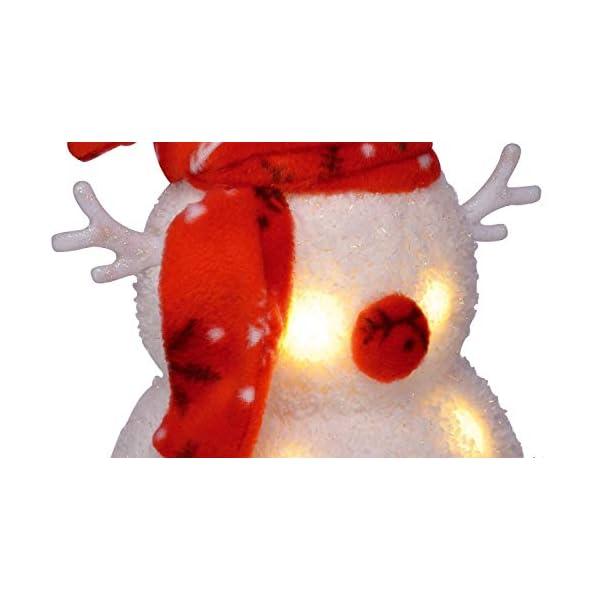 Bambelaa! Pupazzo di neve con luce LED, rosso, decorazione natalizia illuminato, 42 cm, funzionamento a batteria 4 spesavip