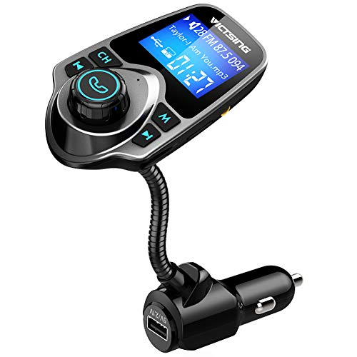 VicTsing Bluetooth FM Transmitter, Wireless Radio Transmitter Adapter Car Kit with 1.44 Inch Large Screen, Hands Free Calling, USB Car Charge Port and Music Player Support Aux Input Output