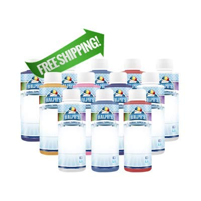Ralph's Dye Free Snow Cone Syrup Sample Pack   4oz Bottles   Try Twelve of Our Most Popular Flavors   Made With Pure Sugar