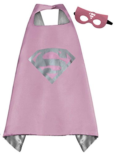 [Superhero Cape and Mask Costume Set Boys Girls Birthday Halloween Play Dress Up (Supergirl Pink)] (Army Girl Halloween Costume Makeup)