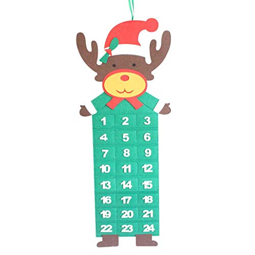 Meetsunshine Christmas Christmas Pendants, Advent Calendar & Pockets Felt Kids Wall Hanging Countdown Decors for Home Party Garden Door Window Pendant (C)