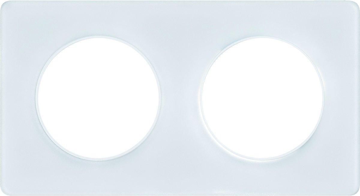 Schneider Electric SC5S52C804K Plaque 2 postes Odace Touch Alu martel/é Liser/é blanc