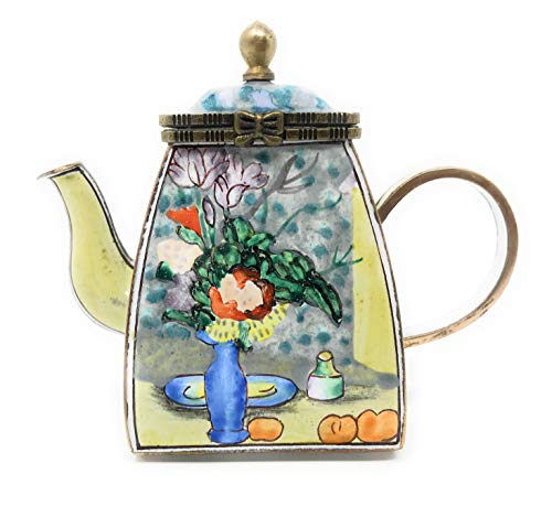 Kelvin Chen Cezanne's The Blue Vase Enameled Miniature Teapot with Hinged Lid, 3.75 Inches - Vase Enameled