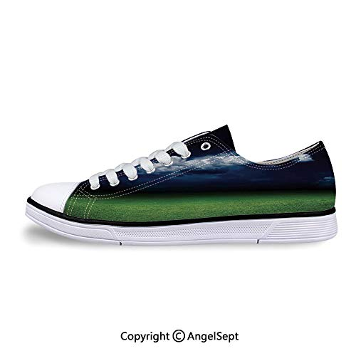 Low Top Canvas Shoes of Grass Ground Field Dark Lace Up -